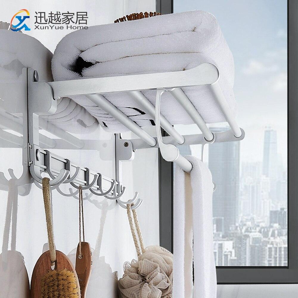 Towel Hanger Wall Mounted Shower Shelf Matte Silver Aluminum Folding Holder Hook Bathroom Accessories 00TR0201 Storage Rack